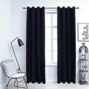 vidaXL Cortinas blackout com argolas 2 pcs 140x225 cm veludo preto