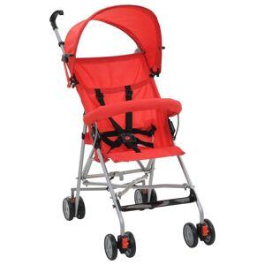 vidaXL Carrinho de bebé dobrável vermelho aço