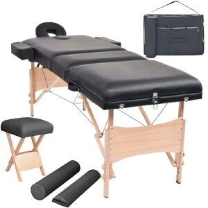 vidaXL Conj. mesa massagem dobrável 3 zonas + banco 10cm espess. preta