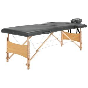 vidaXL Mesa massagens c/ 2 zonas estrutura madeira 186x68 cm antracite