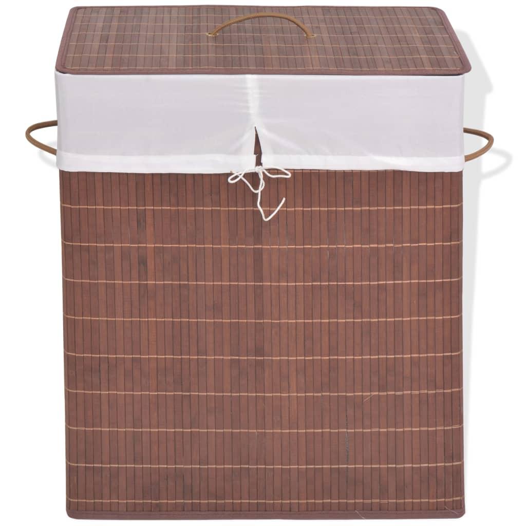 vidaXL Cesto retangular para roupa suja bambu castanho