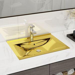 vidaXL Lavatório com extravasamento 60x46x16 cm cerâmica dourado
