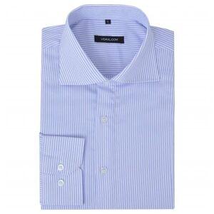 vidaXL Camisa homem p/ negócios às riscas brancas e azuis, XL