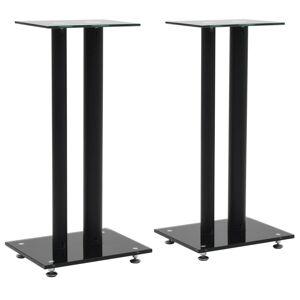 vidaXL Suportes colunas 2 pcs vidro temperado design 2 pilares preto