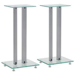 vidaXL Suportes colunas 2pcs vidro temperado design 2 pilares prateado