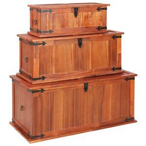vidaXL Arcas de arrumação 3 pcs madeira de acácia maciça