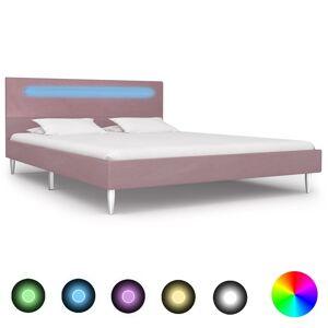 vidaXL Estrutura de cama com LED 140x200 cm tecido cor-de-rosa