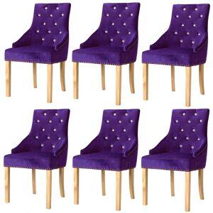 vidaXL Cadeiras de jantar 6 pcs madeira carvalho maciça e veludo roxo