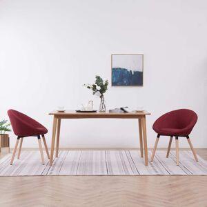 vidaXL Cadeiras de jantar 2 pcs tecido vermelho tinto
