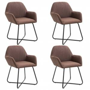 vidaXL Cadeiras de jantar 4 pcs tecido castanho