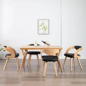 vidaXL Cadeiras jantar 4 pcs madeira curvada e couro artificial preto