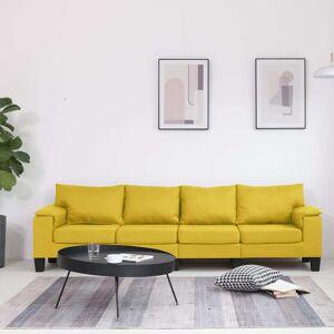 vidaXL Sofá de 4 lugares em tecido amarelo