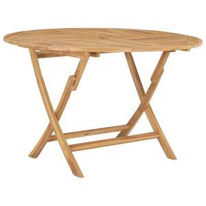 vidaXL Mesa de jardim dobrável Ø 120 cm madeira de teca maciça