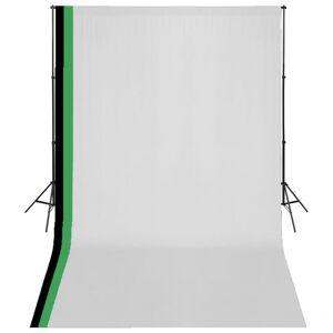 vidaXL Kit estúdio fotografia 3 fundos algodão, moldura ajustável 3x5m