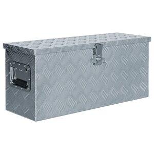 vidaXL Caixa de alumínio 76,5x26,5x33 cm prateado