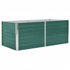 vidaXL Canteiro de jardim elevado 160x80x45 cm aço galvanizado verde