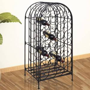 vidaXL Garrafeira de metal, suporte para 35 garrafas de vinho
