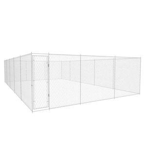 vidaXL Canil de exterior em aço galvanizado 950x570x185 cm