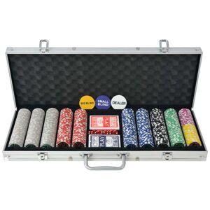 vidaXL Conjunto de póquer com 500 fichas a laser, alumínio