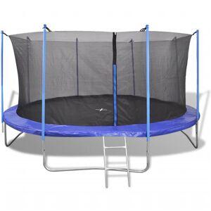 vidaXL Conjunto de trampolim com 5 peças 4,57 m