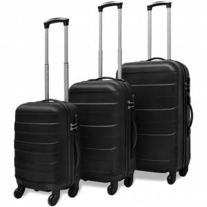 vidaXL Conjunto de três trolleys rígidos, preto