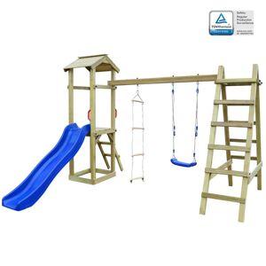 vidaXL Casa com escorrega, escadas e baloiço 286x237x218cm madeira