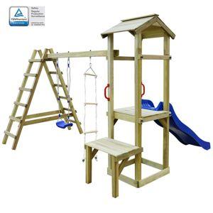 vidaXL Casa com escorrega, escadas e baloiço 286x228x218cm madeira