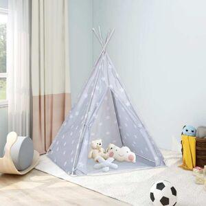 vidaXL Tenda teepee infantil c/ saco de poliéster 115x115x160 cm cinza