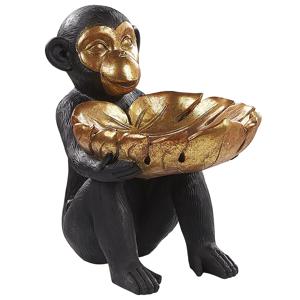 Estatueta decorativa na forma de macaco preta e dourada SOMONE