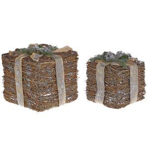 Conjunto de 2 decorações de presente de natal preteado INARI