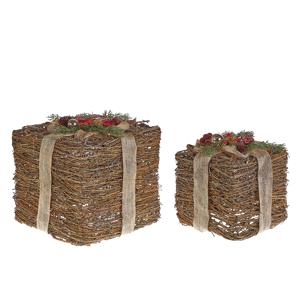 Conjunto de 2 decorações de presente de natal vermelho INARI
