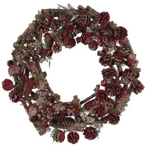 Grinalda decorativa castanho escuro e vermelho ⌀50 cm FILPUS