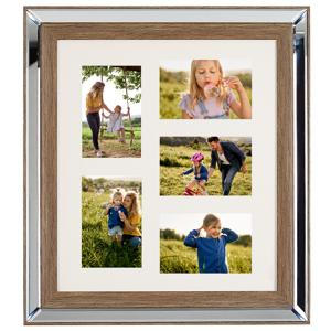 Moldura espelhada e madeira escura para 5 fotos SINTA