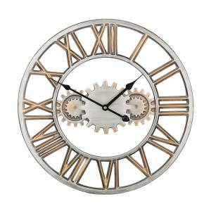 Relógio de parede Ø 46 cm prateado e dourado SEON