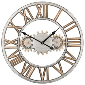 Relógio de parede prata e dourado SEON