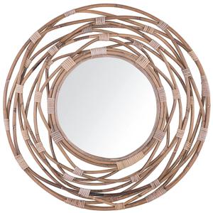 Espelho de parede em rattan ø 75 cm cor de areia BURGIS