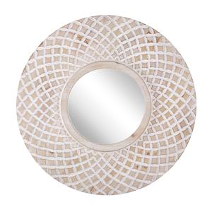 Espelho de parede com moldura castanho claro ø 60 cm POMARO