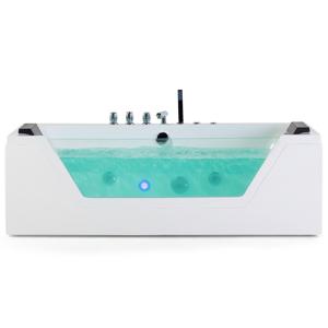 Banheira de hidromassagem acrílica com LED 150 cm branca SAMANA
