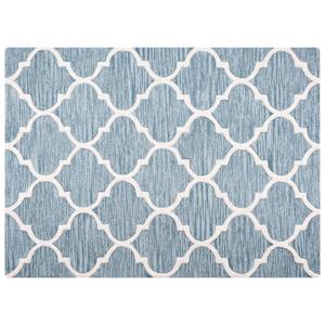 Tapete de lã 160 x 230 cm feito à mão azul claro YALOVA