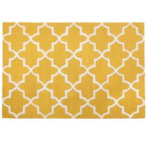 Tapete de lã 140 x 200 cm feito à mão amarelo SILVAN