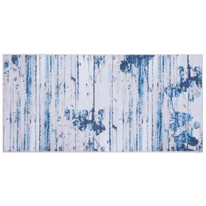 Tapete 80 x 150 cm creme e azul BURDUR