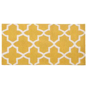 Tapete de lã 80 x 150 cm feito à mão amarelo SILVAN