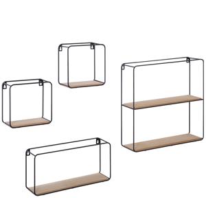 Conjunto de 4 estantes geométricas preto e castanho claro BRITO