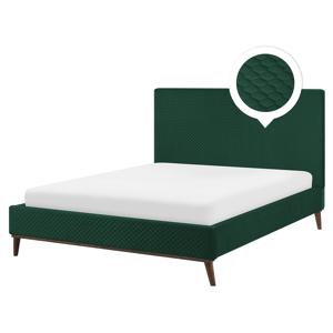 Cama estofada em tecido verde escuro 160 x 200 cm BAYONNE