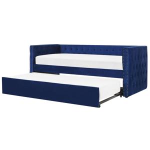 Cama com gaveta de veludo azul 90 x 200 cm GASSIN