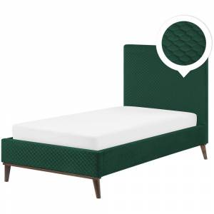 Cama estofada em tecido verde escuro 90 x 200 cm BAYONNE