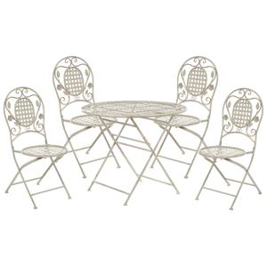 Conjunto de jardim com mesa e 4 cadeiaes em metal branco sujo BIVIO