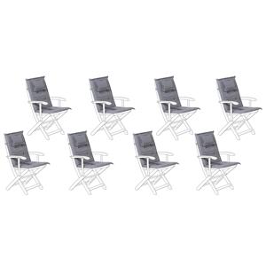 Conjunto de 8 almofadas cinzento grafite para a cadeira MAUI