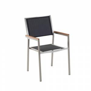 Cadeira de jardim preta - Aço inoxidável - Fibra têxtil - GROSSETO