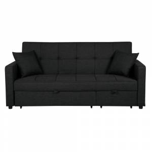 Sofá-cama com 3 lugares em preto GLOMMA